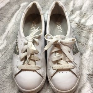 Roxy white leather tennis shoes size 9